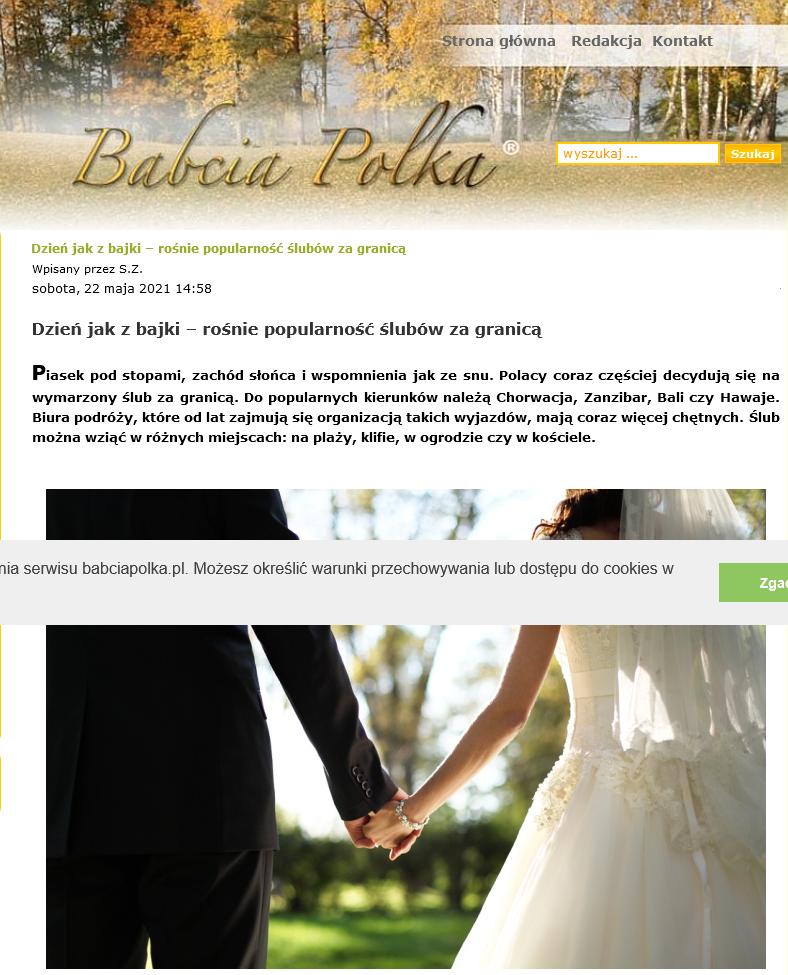 Screenshot_2021 05 26 Dzień Jak ZBajki – Rośnie Popularność ślubów ZaGranicą